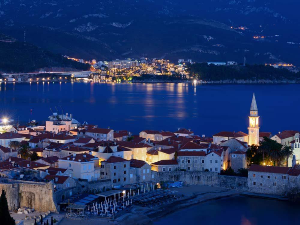 Bay in Montenegro at night