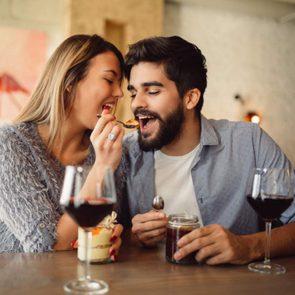 Young couple eating