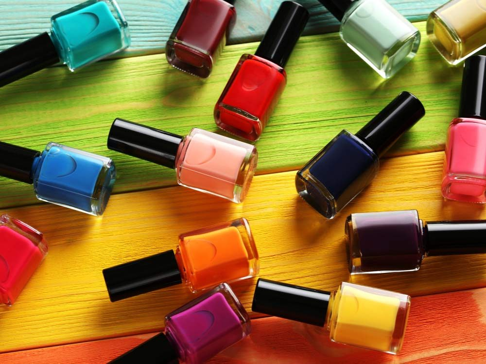 Multi-coloured nail polish