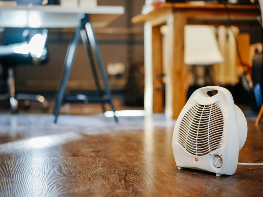 Space heater in home office