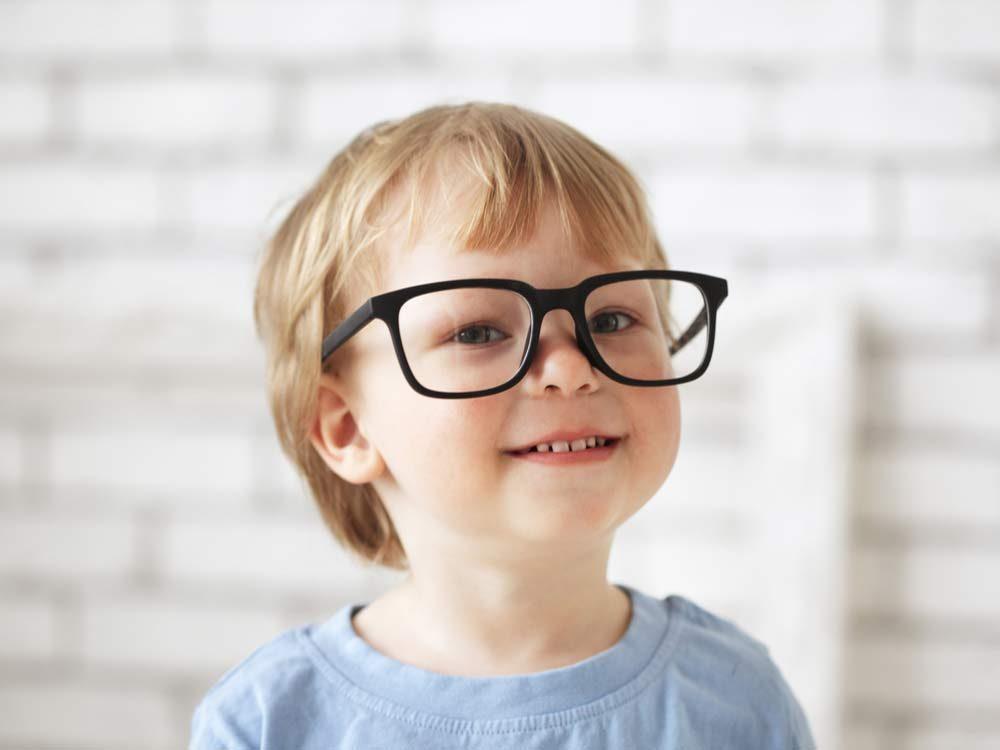 Smart boy wearing glasses