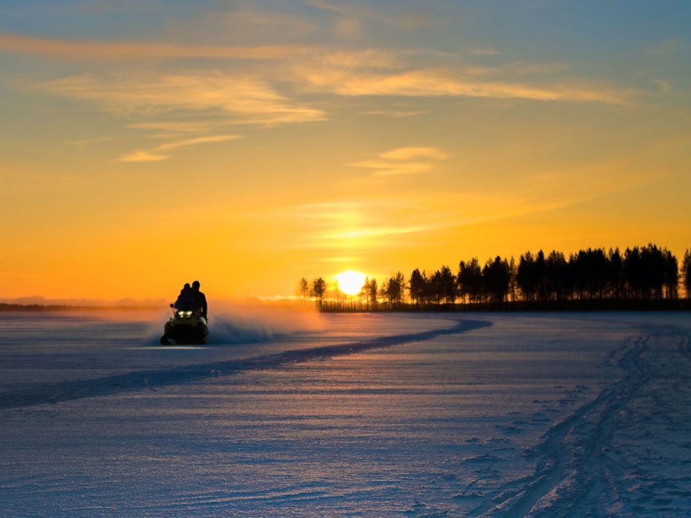 Snowmobile in winter