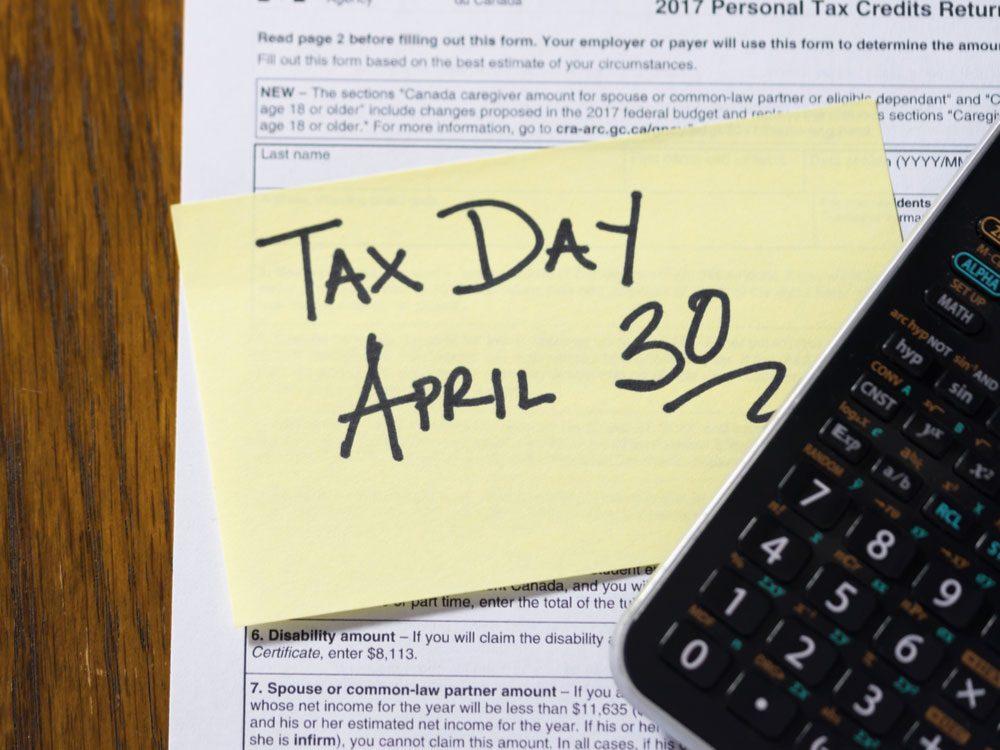 Canada tax day deadline