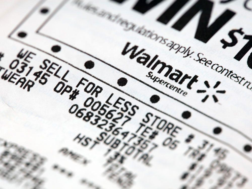 Walmart Canada receipt