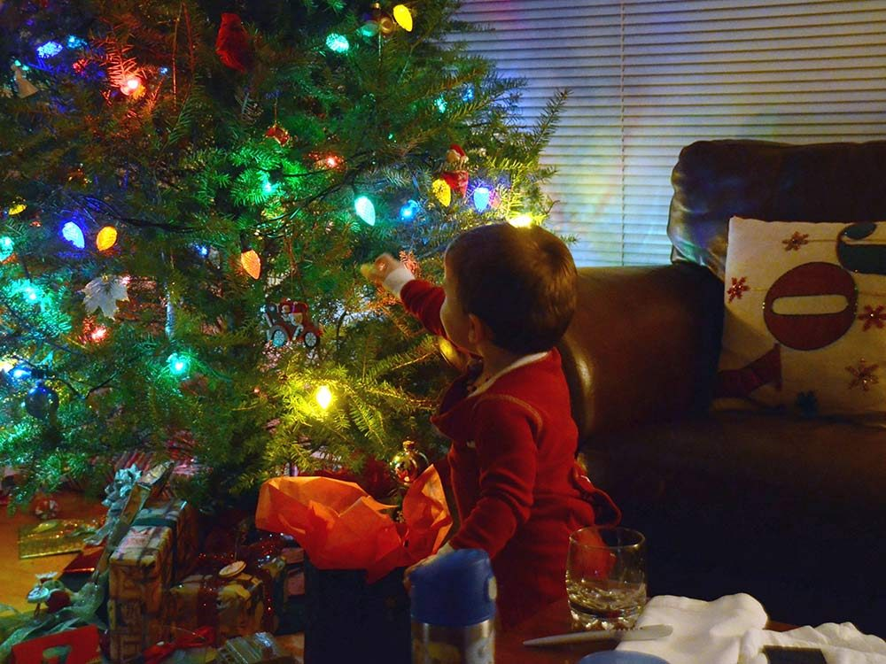 Child on Christmas morning