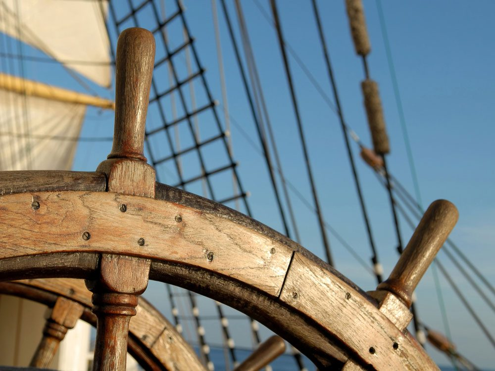 Steering wheel of old ship