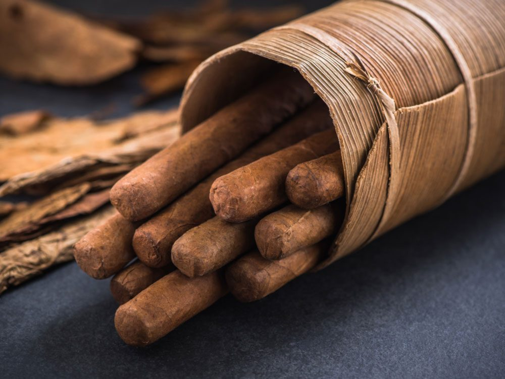 Cigars in traditional holder