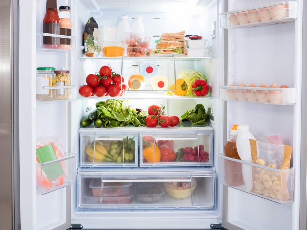 Fruits and vegetables in refrigerator