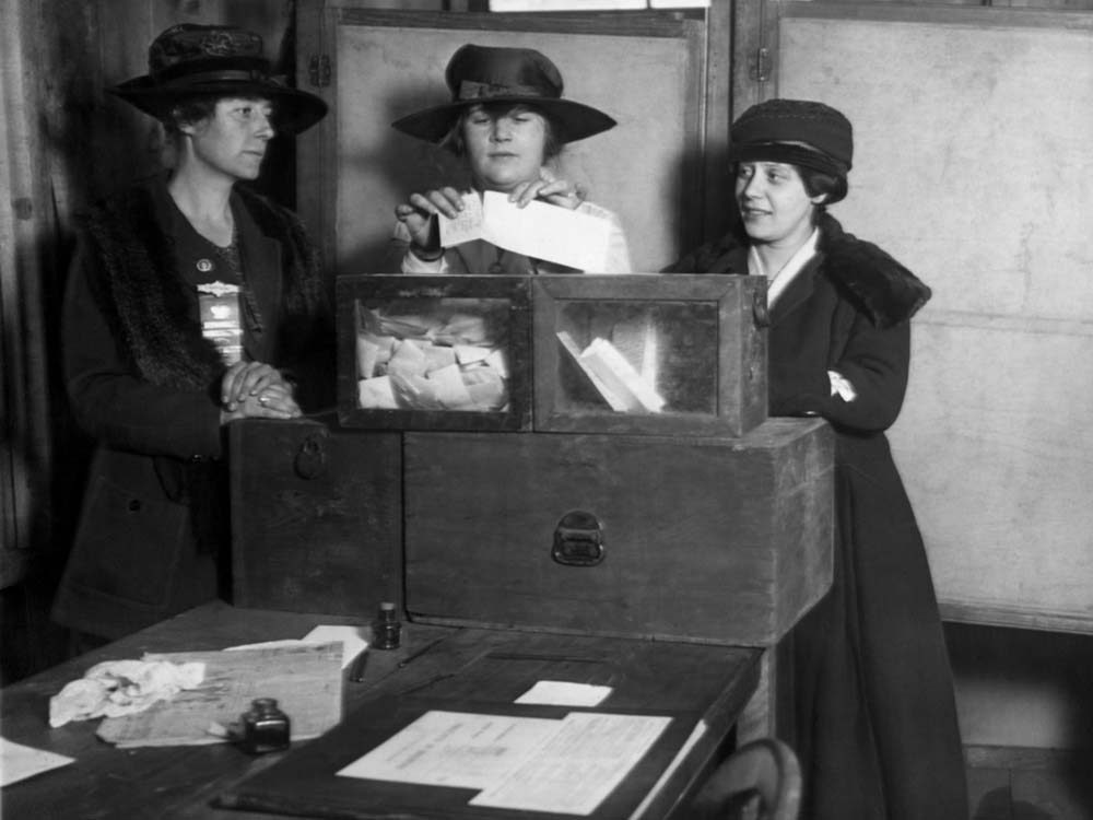 Women casting votes in early 1900s