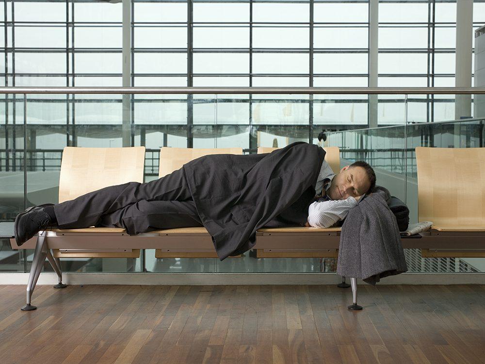 Man sleeping in airport
