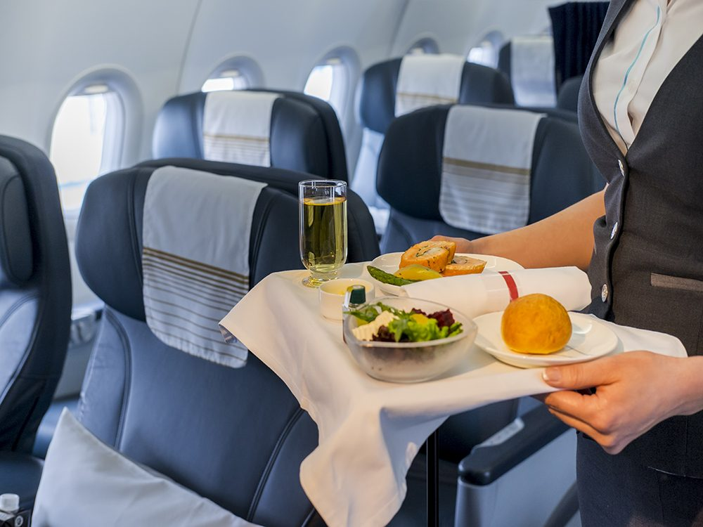 Serving meal on flight
