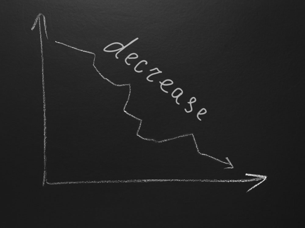 Decrease graph chart on blackboard