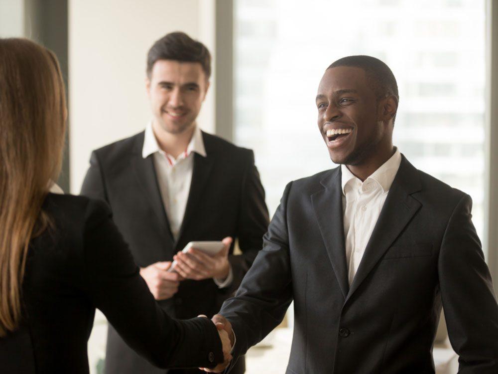 Businessman meeting businesswoman