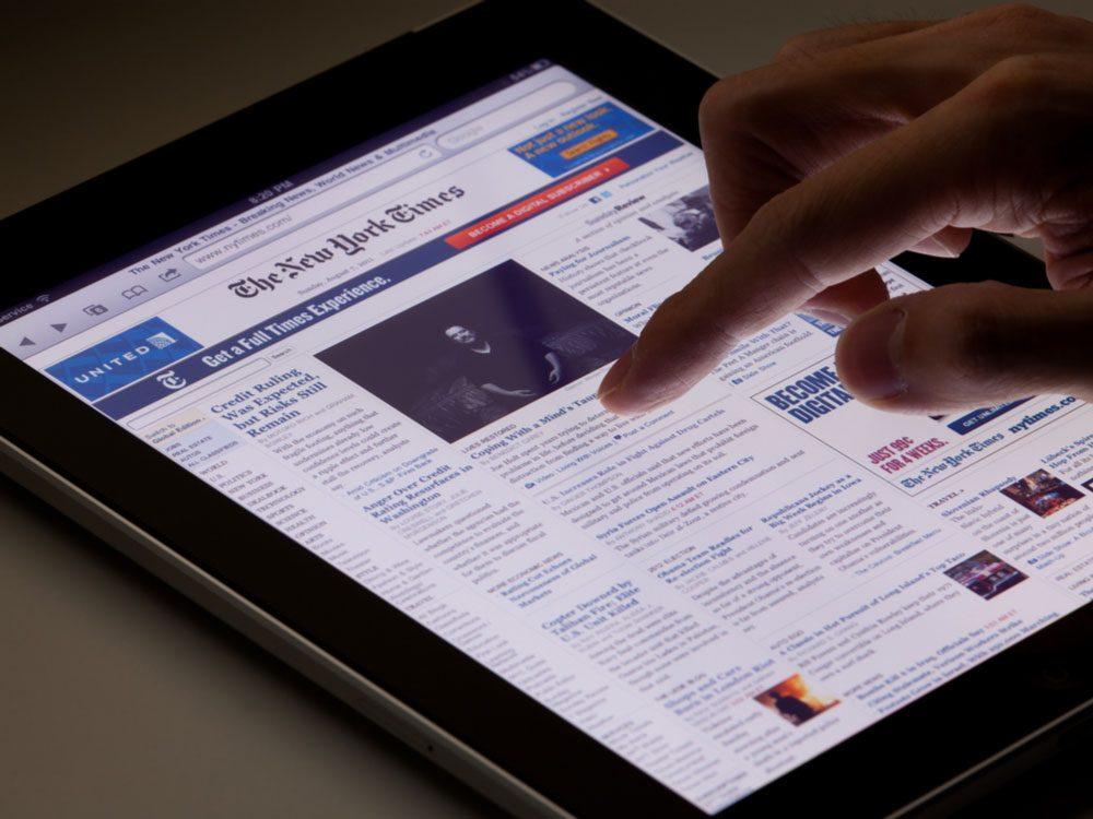 New York Times app on iPad