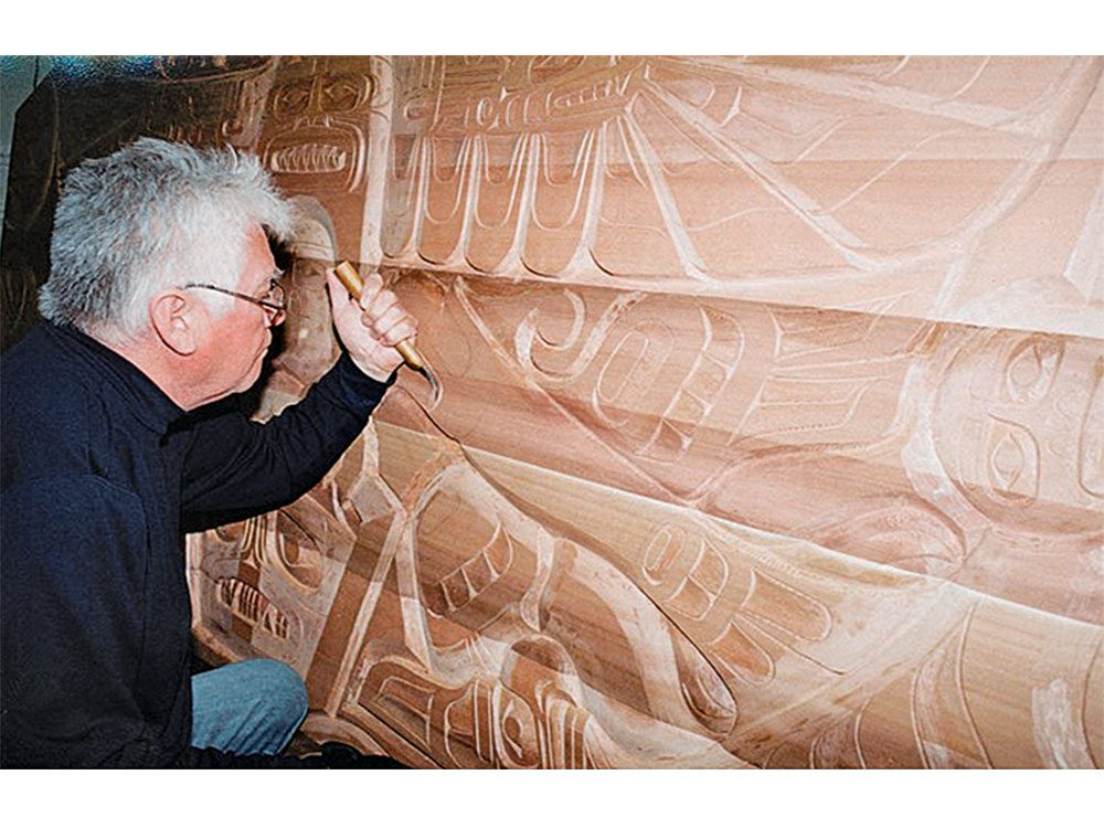 Richard Hunt carving wood plaque