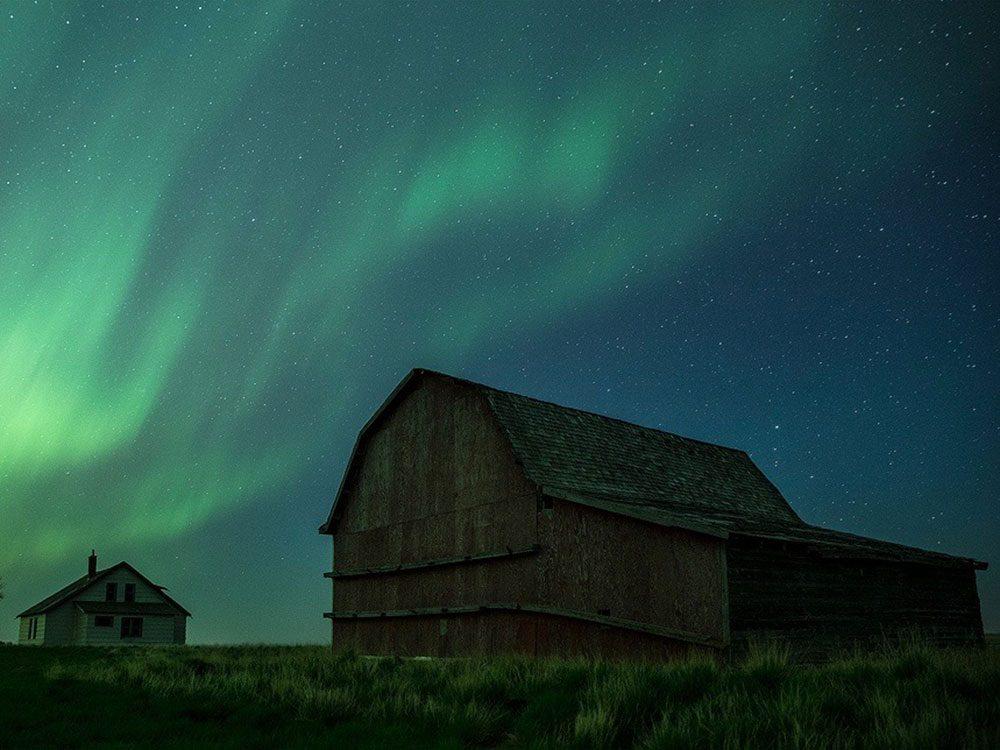 Barn under Northern Lights in Saskatchewan