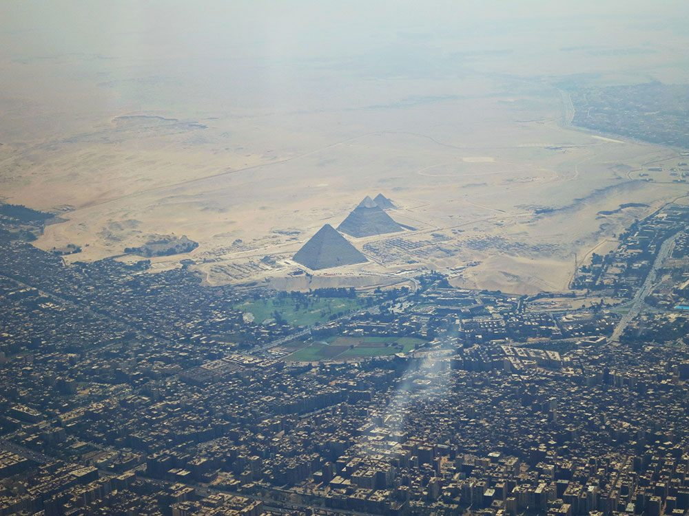 Famous landmarks zoomed out: The Great Pyramids of Giza