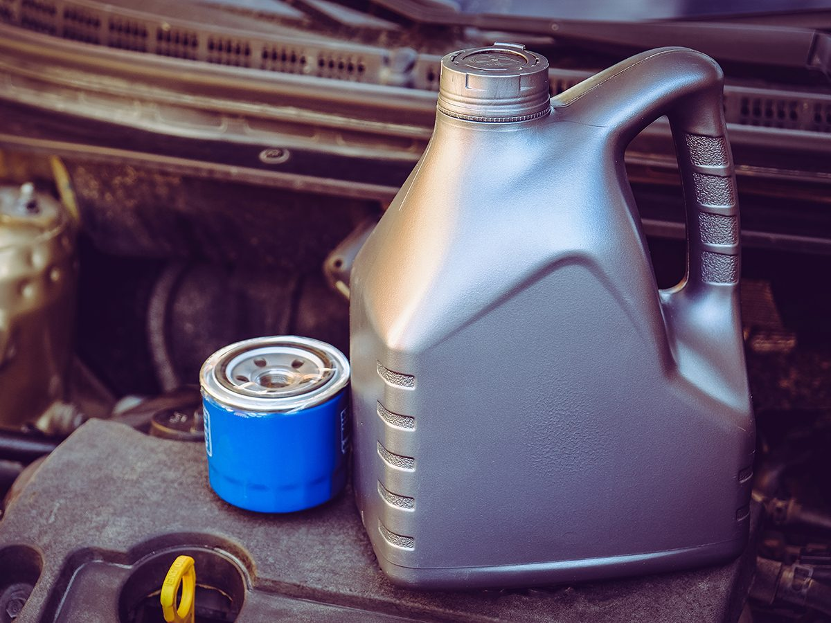 High mileage oil filter and motor oil