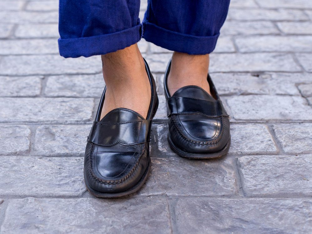 Man wearing genuine leather loafers