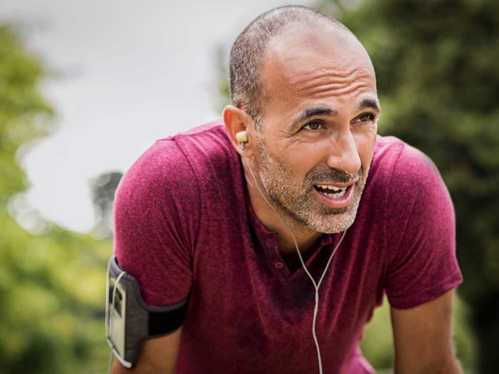 Bald man after a long run