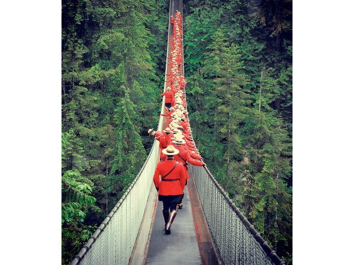 Canada Day: RCMP on the Capilano Suspension Bridge