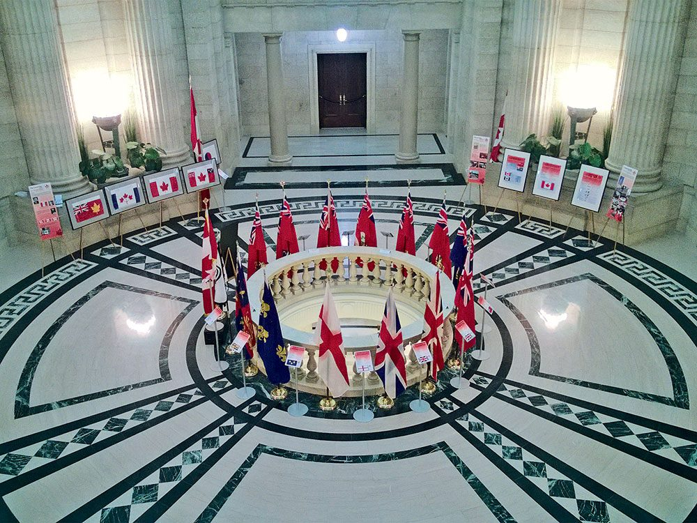 Flags from the Canadian Flag Collection on display in the Manitoba Legislature