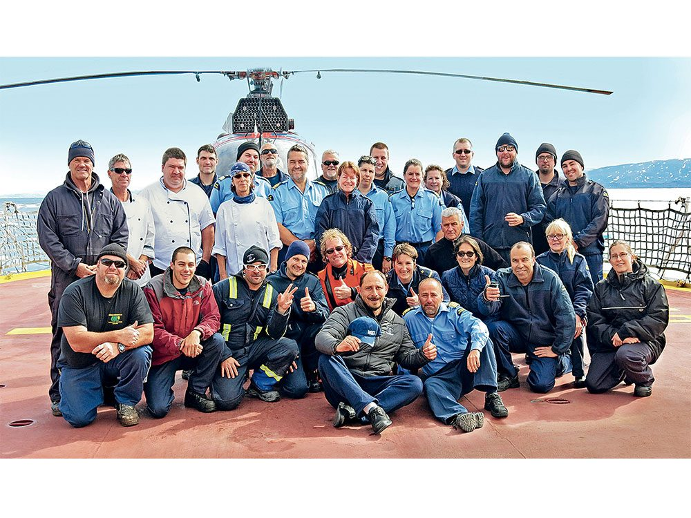 Ananov with crew of Pierre Radisson after his rescue
