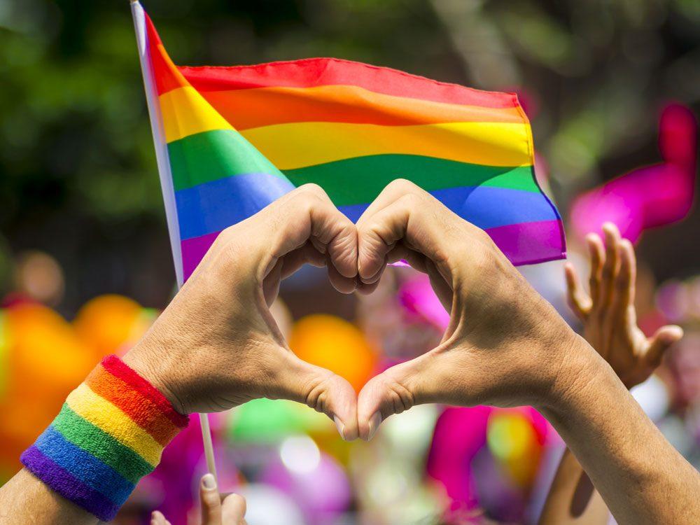 Rainbow flag flying at Pride Parade