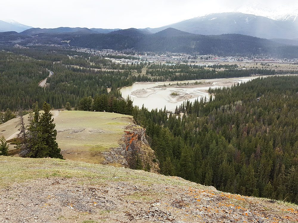 Jasper townsite from Old Fort Point