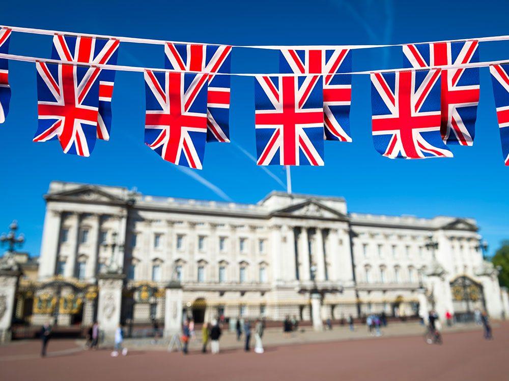 Union flags at Buckingham Palace