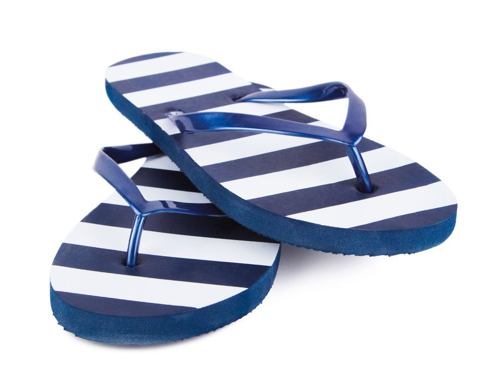 Blue and white striped flip flops