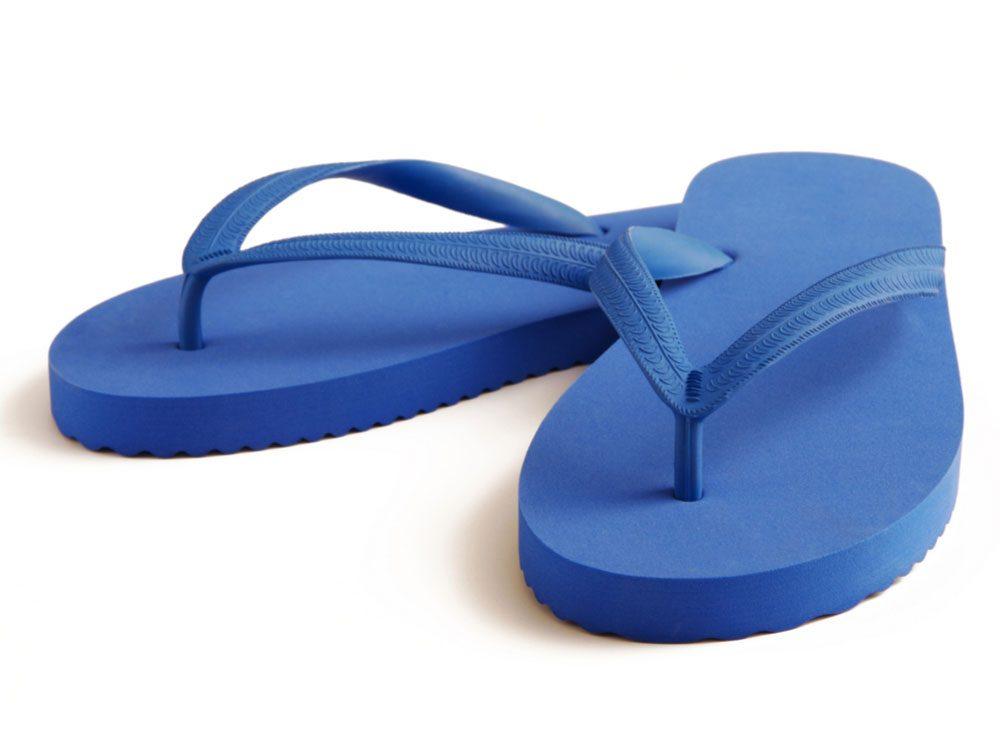 Ocean blue flip flops