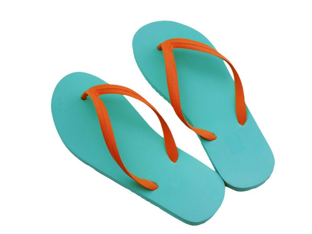 Blue and orange flip flops
