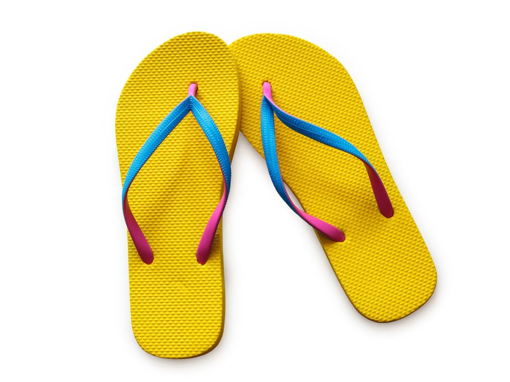Yellow and blue flip flops