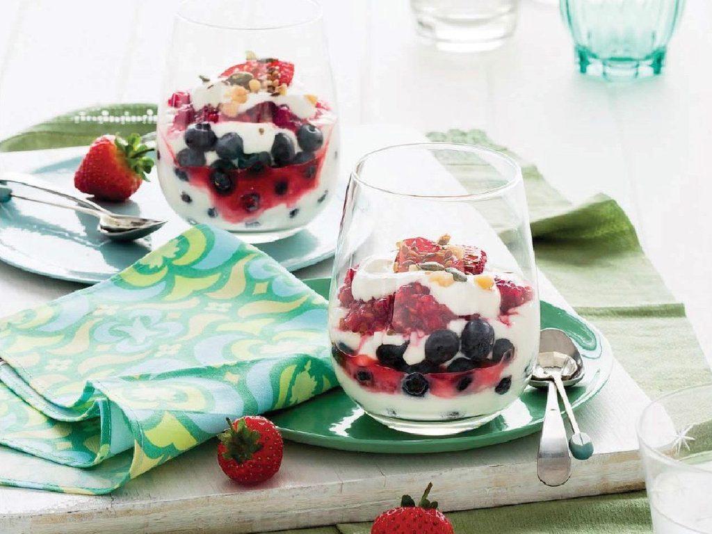 Berry yogurt swirl with walnuts and pumpkin seeds