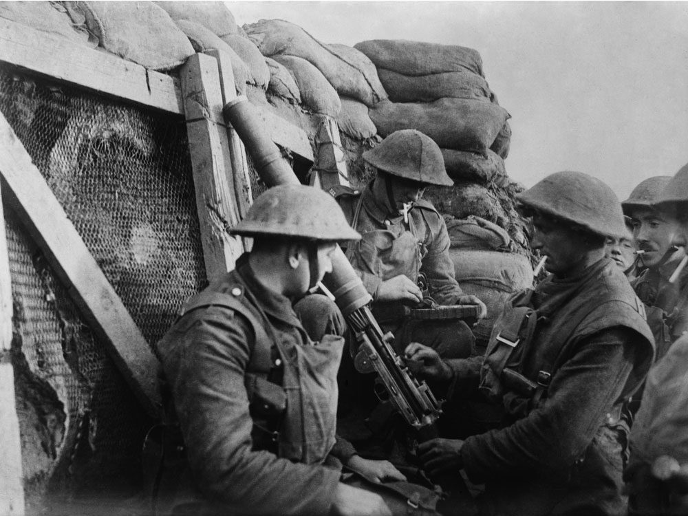 European soldiers in the trenches during WWI