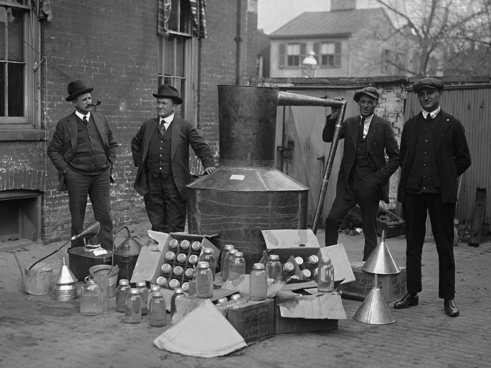 Raid of illegal moonshine operation in the 1920s