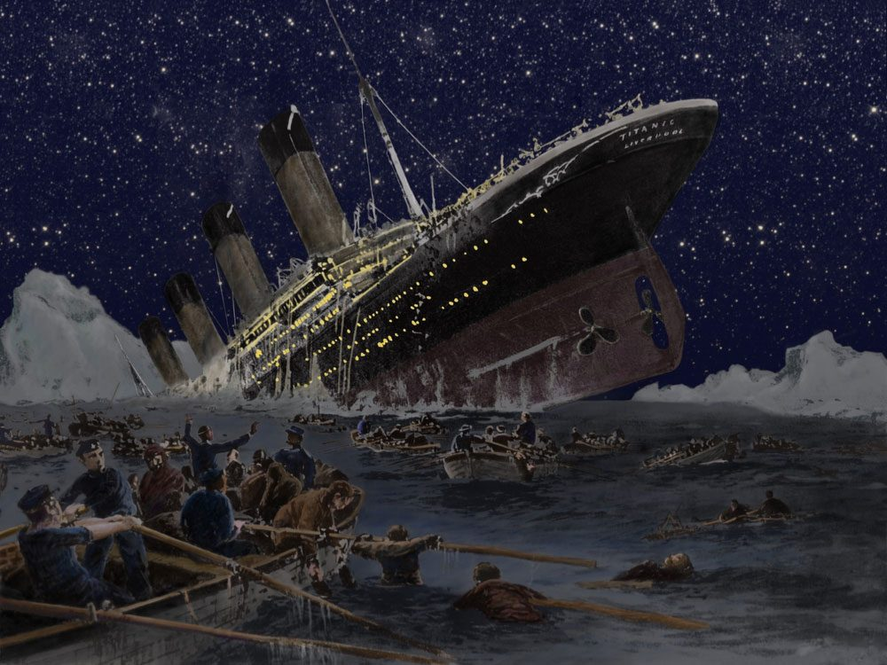Painting of Titanic sinking