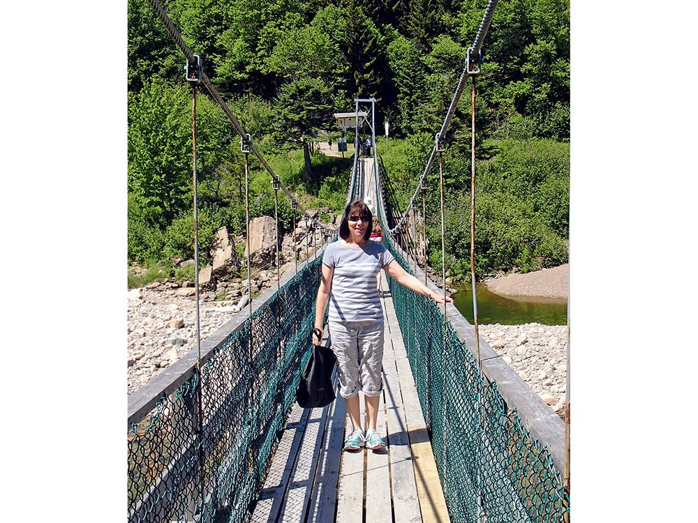 The Salmon River suspension bridge on the Fundy Trail