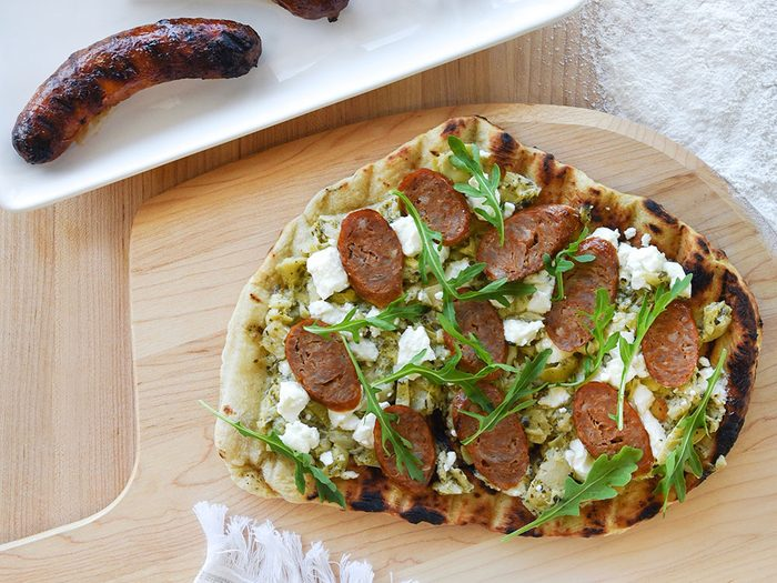 Grilled Toulouse Sausage BBQ Pizza