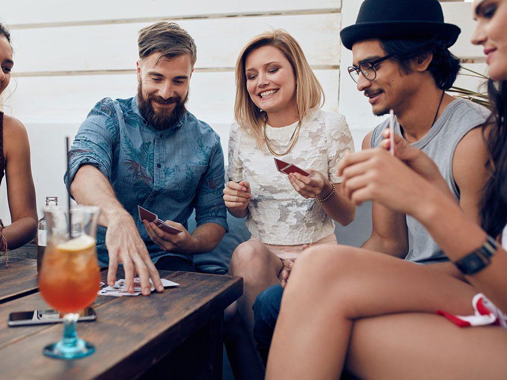 Friends having drinks on restaurant patio