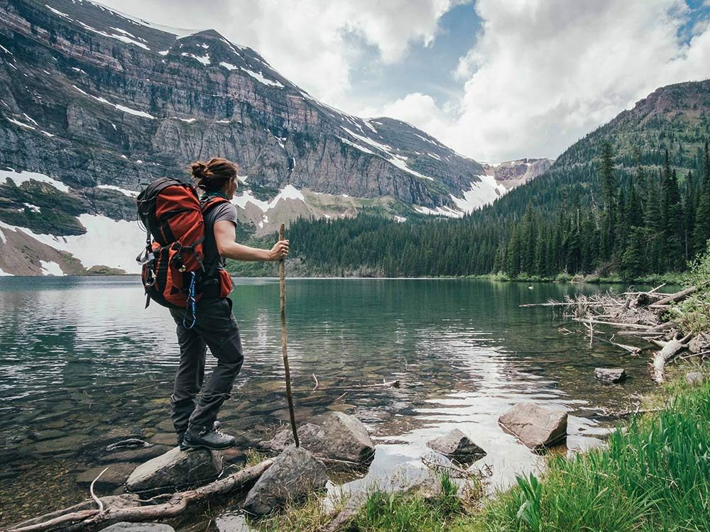 Woman on a solo hike retreat in western Canada