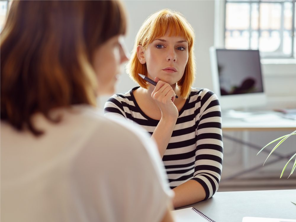 Woman in office meeting at work