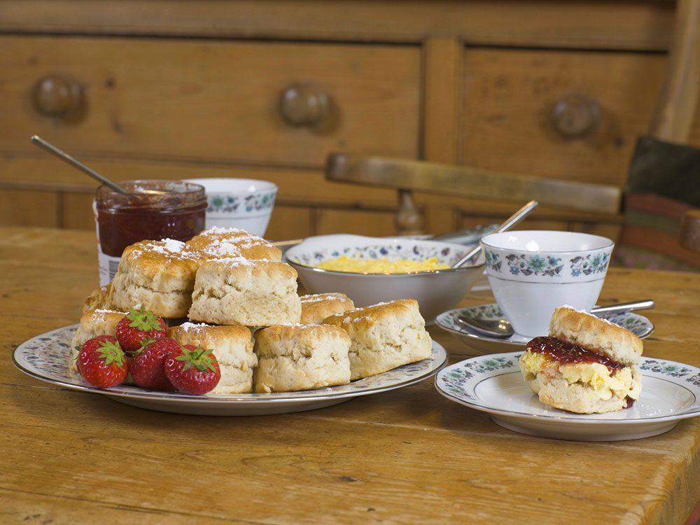 Scones, fruit and English tea