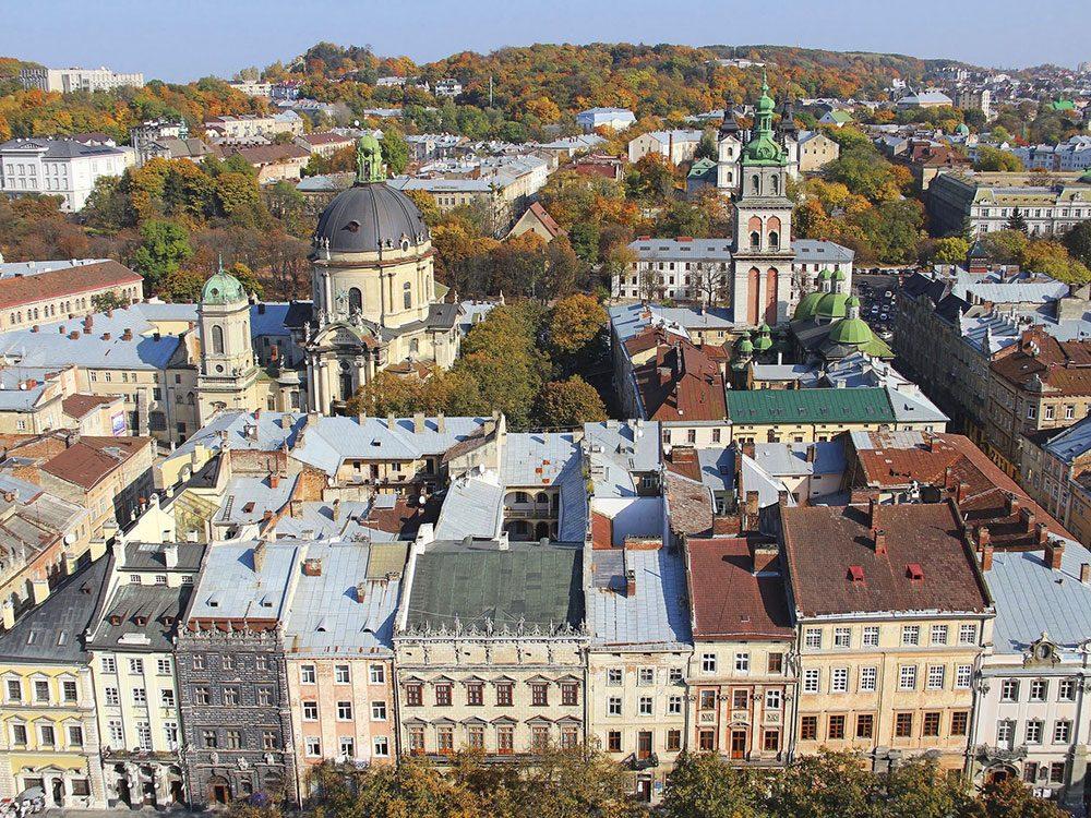 Architecture of Lviv in Ukraine