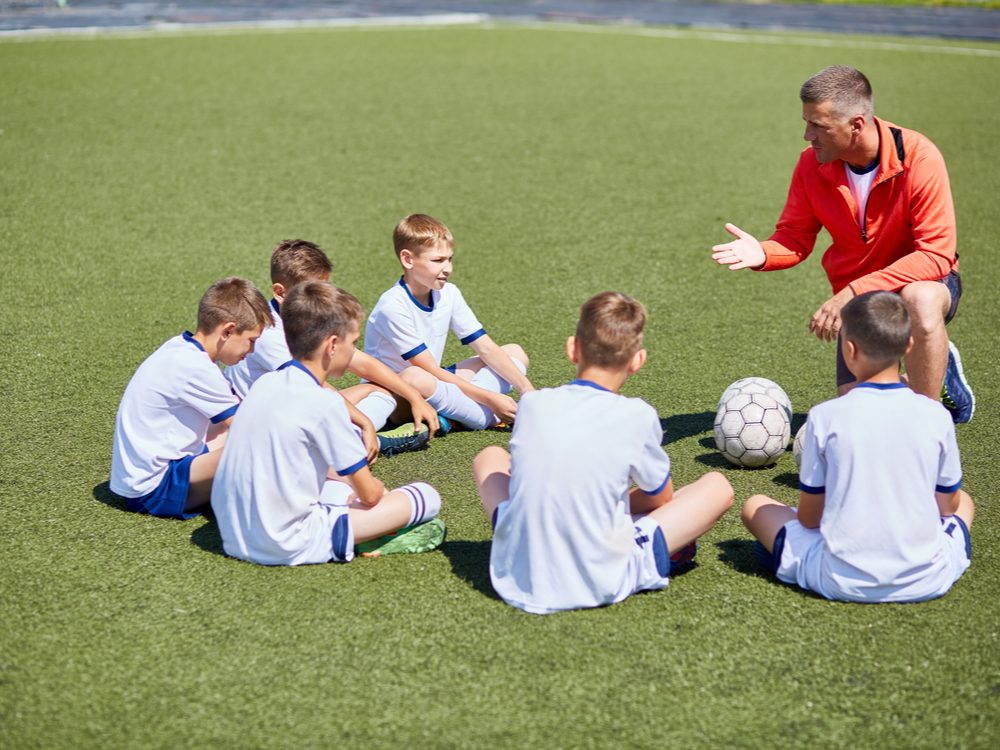 Coaching children's soccer team