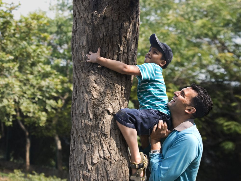 Father helping young son climb tree