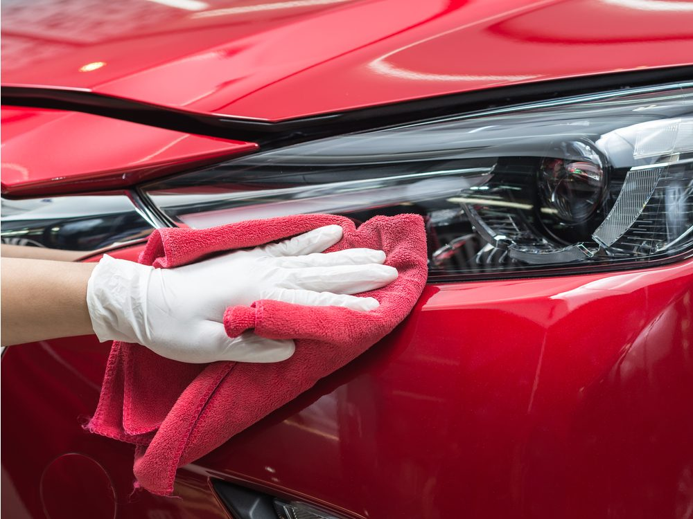 Cleaning red car