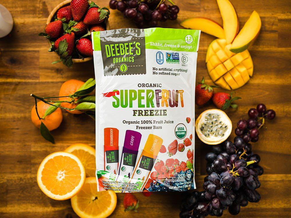 Deebee's Organics superfruit freezie juice bars