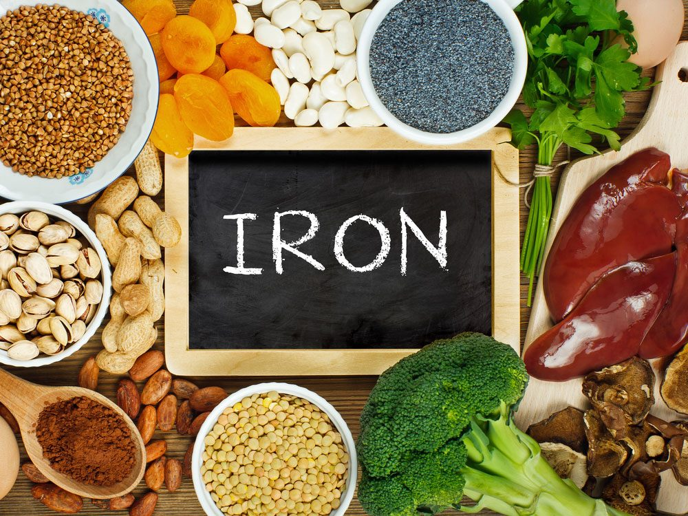 Iron-rich foods, including liver, lentils and dried mushrooms